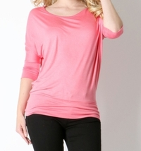 Bright Pink Dolman Top, Hot Pink Slouchy Top, Womens Pink Dolman Top, Relaxed