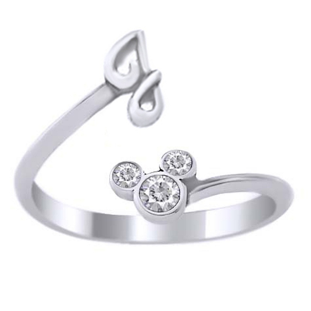 Disney Mickey Mouse Initial I Ring Diamond 14k White Gold Plated Pure 925 Silver - £18.50 GBP