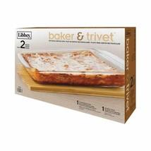 Libbey 3.4 Qt. Rectangle Baker and Trivet - $29.02