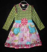 NEW Girls Boutique Ruffle Floral Lace Long Sleeve Pink Dress 6 7 - $19.99