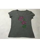 Herbalife L Heather Gray Tropical Hawaiian Flower Shirt Purple Bling Gem... - $9.99