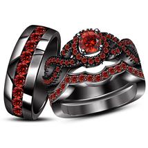 Infinity Bridal Set W/ Men's Band Round Cut Red Garnet Black Gold Fn. 925 Silver - $179.99