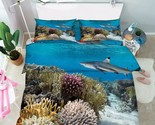 3D Shark Corals Bed Pillowcases Quilt Duvet Cover Set Single Queen King Size AU