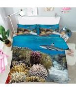 3D Shark Corals Bed Pillowcases Quilt Duvet Cover Set Single Queen King Size AU - $64.32 - $96.47