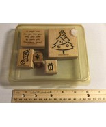 """Stampin Up 2000 """"A Christmas Wish"""" Set Of 5 Wood Block Rubber Mounted St... - $11.45"""