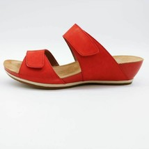 Dansko Womens Vienna Slide Sandals Red Milled Nubuck Wedges EUR 38 New - $36.47