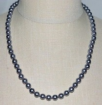 VTG ERWIN PEARL Faux Silver Glass Pearl Choker Necklace Rhinestone Clasp - $67.32