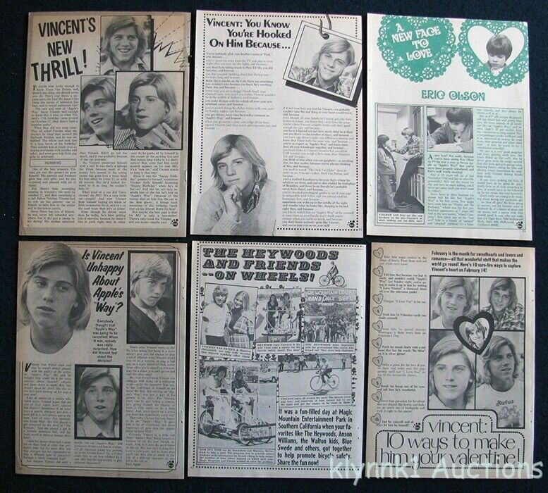 Vincent Van Patten 6 Full page Magazine Clippings 1970s V431