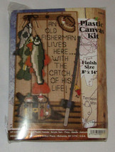 An Old Fisherman Lives Here With The Catch Of His Life Plastic Canvas Kit New - $19.39