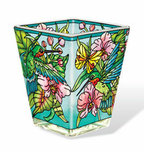 Hummingbird Orchard Tea Light Candle Holder AMIA Hand Painted Glass Pink... - $19.79