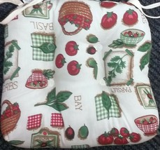 SET of 2 THICK REVERSIBLE CHAIR CUSHION PADS with ties, TOMATOES BASIL - $19.79