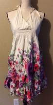 VENUS White Halter Pink Purple Floral Print Ruffle Sun Dress Boho Hippie... - $24.18