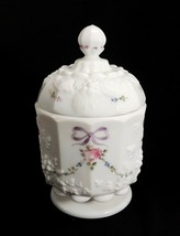 Westmoreland Candy Dish w/ Lid Milk Glass Roses & Bows Paneled Grape Pink Roses - $29.95