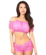 Fashion Crop Top Peasant Pink Lined Short Sleeve Blouse ~ Regular & Plus... - $34.00