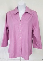 Eddie Bauer Large Orchid Plaid Lilac 3/4 Sleeve Stretch Wrinkle Resistant Blouse - $19.79