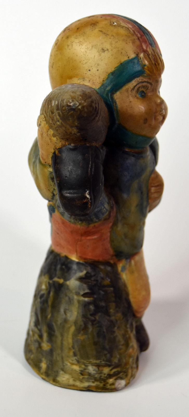 "6"" Early American Footbal Statue Figure Yellow / Green Team Colors"