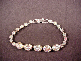 "Weiss Aurora Borealis Rhinestones Bracelet 7"" Oval Center Stones - $34.65"