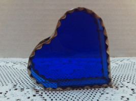 Vintage Stained Blue Glass Heart Shaped Pencil/Pen Holder Home Decor Win... - $6.00