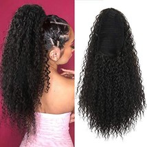 AISAIDE Drawstring Ponytail Extension 20in Long Curly Ponytail Extension with 2