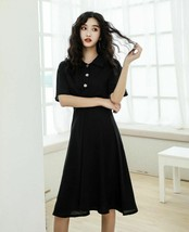 New Spring High Streets Mid-Calf Dress For Women Turn Down Collar Short ... - $36.97