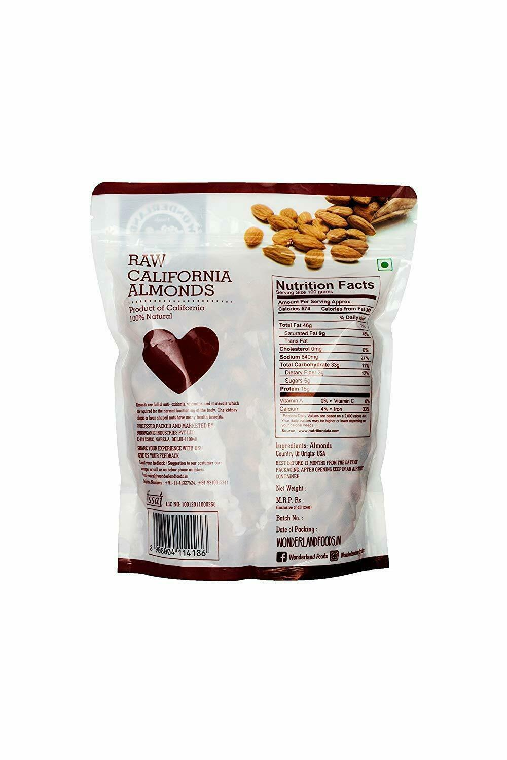Wonderland Foods California Raw Almonds (1Kg) image 4