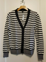 Ann Taylor Striped Long Sleeve Cardigan Sweater Cotton Navy/White Size M, NWT - $74.99