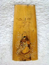 South India Pearl Inlay Plaque/Wooden Wall Hanging Pic, Collectible Home... - $16.99