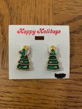 Vintage Christmas Tree Earrings - $18.50