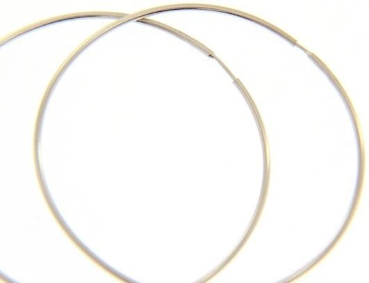 18K WHITE GOLD ROUND CIRCLE HOOP EARRINGS DIAMETER 40 MM x 1 MM, MADE IN ITALY