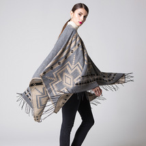 Women Winter Shawl Blanket Cloak Bohemian Style Cape Wrap Festival Cloaks- gray