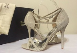 Badgley Mischka Dominique Platino Metallic Mesh Women's Evening Heels Sa... - $98.01