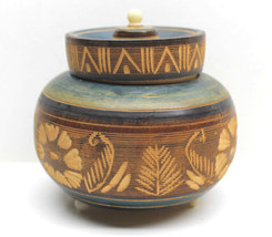 """Purported Himalayan Wood What Not 4"""" Tall 5"""" Wide Pot+Top Covered Jar Vi... - $42.06"""