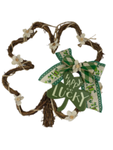 AGD St Patrick's Day Decor - Happy Go Lucky Grapevine Shaped Shamrock Wr... - $34.95