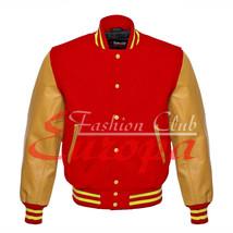 Original American Varsity Real Leather Letterman College Red Wool Jacket... - $87.00
