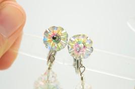 VTG VENDOME Silver Tone Clear AB Rivoli Flower Rhinestone Dangle Earrings image 2