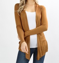 Tan Open Front Flyaway Cardigan, Lightweight Rayon Layering Sweater, Womens
