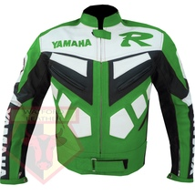 YAMAHA R GREEN MOTORCYCLE MOTORBIKE BIKERS ARMOURED COWHIDE LEATHER JACKET - $194.99