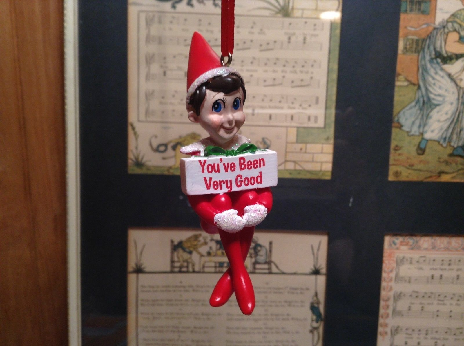 Dept 56 - Elf on the Shelf - You've been very good banner Christmas Ornament