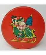 Vintage 1970s Hong Kong Red Teddy Bear Sleigh Toys Christmas Tin - $15.15