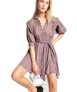 Free People Sydney Lace Pintucked Plum Dress Size Small - $119.99