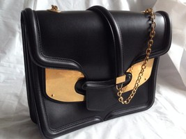 Alexander McQueen Medium Gold Plate Black Leather Heroine purse bag - $950.00