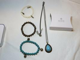 Damen Avon Blau Atlantic Lange Halskette & Stretch Armband Geschenk Set Nip - $39.58