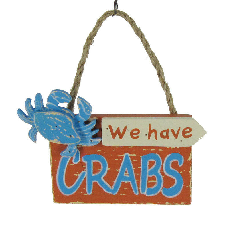 "Primary image for WOODEN CRAB PLAQUE 4.25"" COASTAL NAUTICAL XMAS ORNAMENT ""WE HAVE CRABS"""