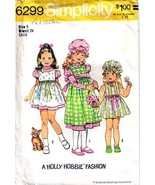 1974 HOLLY HOBBIE  DRESS, JUMPER & CAP Pattern 6299-s Girl Size 5 - Comp... - $12.99