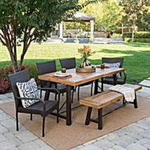 6-Piece Rectangle Wicker Wood Dining Set  - $1,942.00