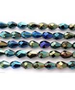 25 7x5 mm Czech Glass Teardrops: Iris - Green - $3.47