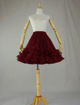 Women Mini Tutu Skirt Full Tulle Mini Skirt Ballet Skirt,burgundy red,high waist