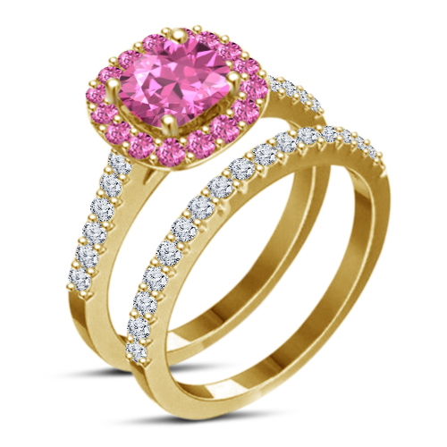 Cushion Cut Pink CZ 14k Yellow Gold 925 Sterling Silver Bridal Wedding Ring Set