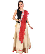 Golden Jaipuri Skirt with Red Dupatta - SNY18238 - $26.00