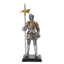 "Medieval Knight 5"" Statue Silver Gold Finishing Cold Cast Resin Statue - $15.44"